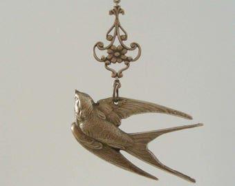 Vintage Pendant - Bird Pendant - Swallow Necklace - Brass Pendant - Vintage Brass - Vintage Stamping - DIY Necklace