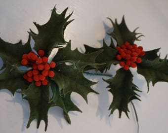 Vintage Holly with Berries Picks   Flocked Holly with Berries Set of 2 Christmas Decoration  Holly Picks
