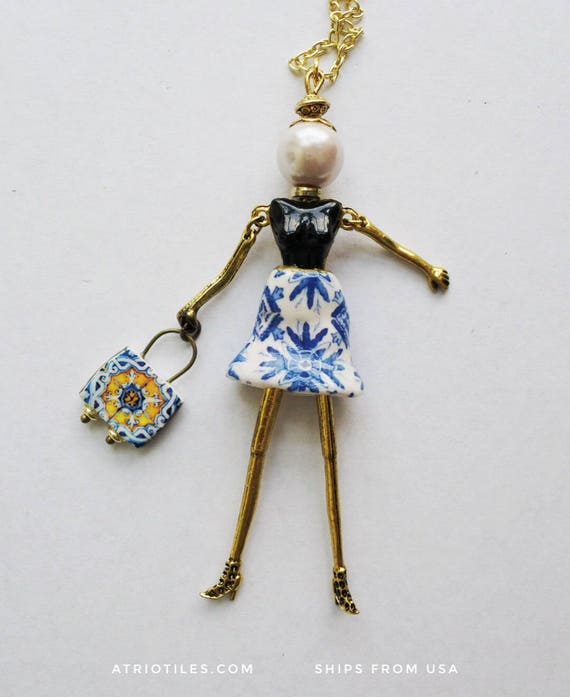 Necklace Girl Doll  Portugal Tile Azulejo Portuguese Antique Porto Blue  - Gift Box - SHIPS from USA 1639