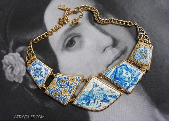 Bib Necklace Portugal Tile Azulejo Blue Antique History Mosaic Great View of Lisbon 1700 pre-earthquake tsunami Gift Boxed