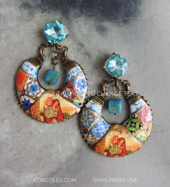 Portugal Antique Azulejo Tile EARRINGS Post Stud - Persian Tabriz rug woman carrying  jug - Azerbaijan Mosaic Bohemain Gypsy Cubic zirconia