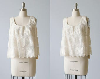 1960s 60s White Lace Tank Blouse Sleeveless / Swing Blouse
