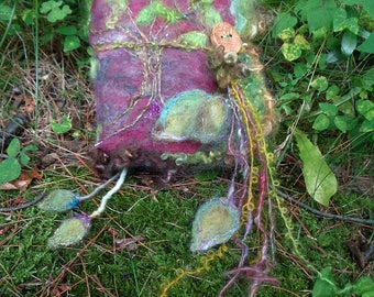 rustic journal fantasy felted wool art book - ancient tree journal tree of life