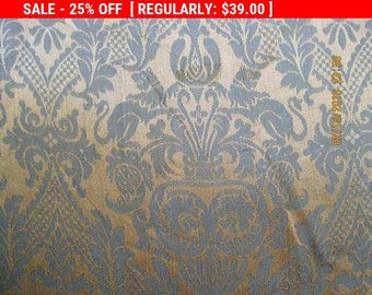 Antique Damask Fabric Peacocks Lions Renaissance Revival