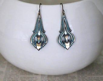 Patina Jewelry, Vintaj Jewelry, Art Nouveau Jewelry, Vintage Jewelry, Turquoise Patina, Boho Jewelry, Teardrop Earrings, Brass Earrings