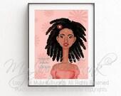 Dreadlocks- African American Art Natural Hair Art Black Woman Art Afro Print