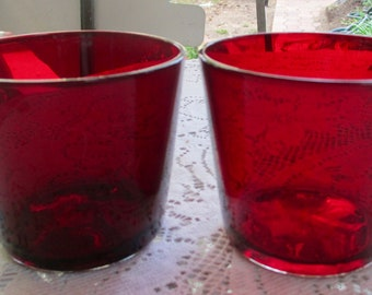 Two Vintage Anchor Hocking Ruby Red Juice Glasses