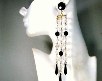 7 Inch Long Dangle Bead Earrings, Black Clear Bead Chain Shoulder Dusters, WOW