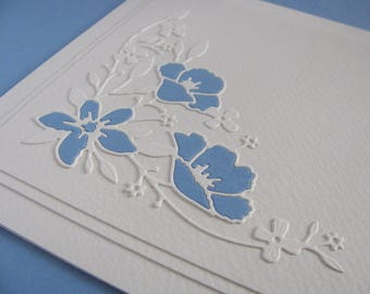 Country Blue Petals in Delicate Floral Filigree Corner on Creamy Ivory Square Card / Measures Just Under 6x6 inches / Ready to Ship