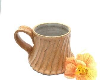 Single Handmade Pottery Mug with a Saffron Twirly Skirt
