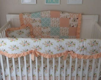 Baby Bedding Lace Crib Set in Peach Coral and Mint Floral