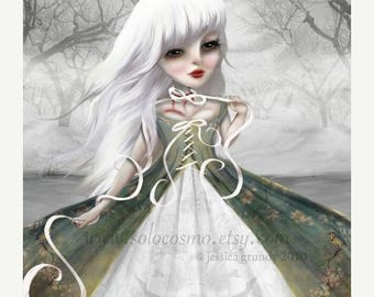 """50% Off SALE Print - Dead Woman Ghost Story White Haired """"Jeanne"""" Fine Art 8.5x11 or 8x10 Print of Original digital Art Painting - Spooky St"""