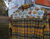 Custom embellished yellow green blue plaid shirt with vintage travel trailer camper fabric sewn on back - Size XL Aeropostale (#S73)