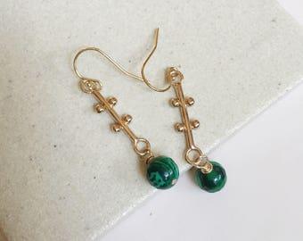 Malachite Drop Earrings. Simple Stone Dangles. Gold Dangles. Modern Boho Earrings. Green Bead Earrings. Gold Filled Hooks. Minimal Earrings.