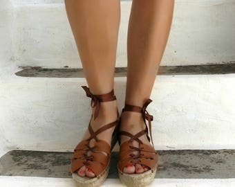 Gladiator Espadrille Sandals. Leather Espadrilles with Tassels. Open Toe Summer Suede Shoes. Women's Sandals. Greek Sandals.