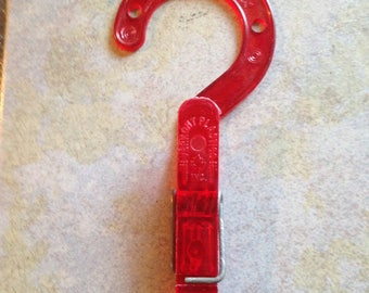 Red Plastic Clothes Pin Hanger