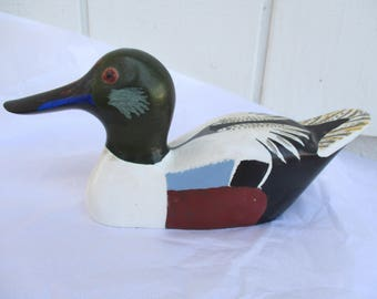Vintage DUCK Wood Carving Hand Carved Wooden Decoy Painted Folk Art