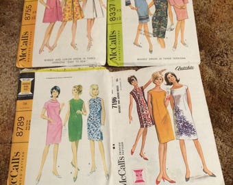 McCall's 60's Dress Pattern Sheath Bell Sleeve Sleeveless 8337