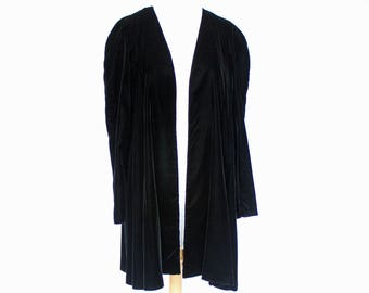 80's / 90's Black Velvet Coat / Flared Knee Length Formal Coat /  Long Open Cardigan / Niki Originals / Small to Medium