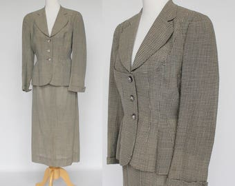 40's / 50's Womens Designer Wool Suit / Gray Check / Long Jacket / Mangone Suit / Small