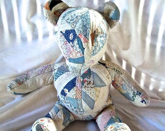Antique Quilted Stuffed Large Bear Vintage Patchwork Quilted Bear Home and Living Vintage Country Display Bear Vintage Quilted Sewing Bear