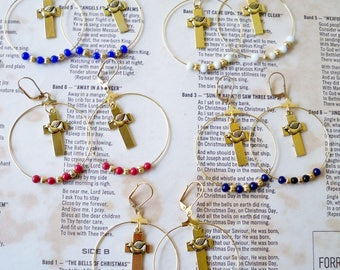 Cross and Dove Hoop Earrings - Color beads and gold beads - Faith earrings - Peace dove - Goldtone beaded earrings - bycat
