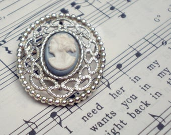 Vintage Sarah Coventry Cameo Brooch, Pin or Pendant, White on Blue Plastic, Book Piece, Psyche Bride of Cupid Motif, Signed