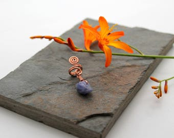 Spiral with Tanzanite nugget Beard, Dreadlock or braid ring or bead - Shiny Copper - Medium