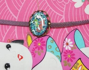 Obidome, seahorse, summer jewelry, holiday, glitter, resin jewelry, kawaii jewelry, Japanese, kimono, obi, kimono accessory,