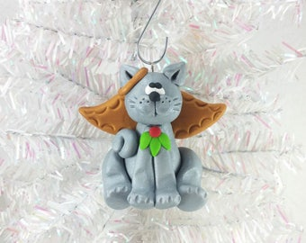 Cat Angel Christmas Ornament - Gray Angel Cat Ornament - Kitty Christmas Ornament - Cat Lovers Gift - Pet Ornament - Cat Owners Gift - 6132