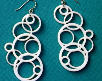 White geometric earrings, White laser cut earrings. Circle earrings, Long dangle earrings, Statement Earrings, Summer earrings