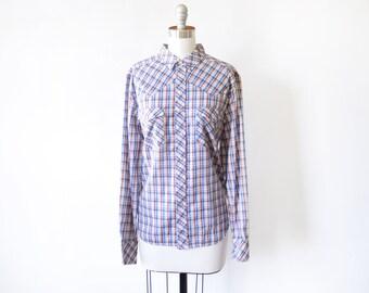 plaid pearl snap shirt, vintage 70s blouse, western button down long sleeve shirt, women's large l