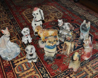 Collection of Carnival Chalkware Dogs/Vintage 1940s/Chippy Shabby Dog Statues