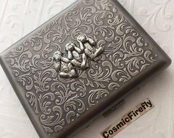 Antiqed Silver Monkey Cigarette Case Speak Hear See No Evil Monkey Card Wallet Large Double Gothic Victorian Steampunk Case Vintage Style