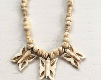 Vintage Carved Bone Butterfly Statement Necklace