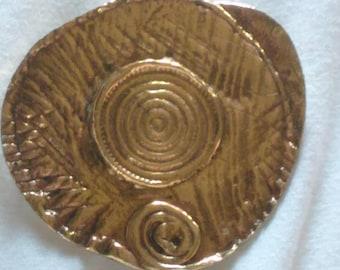 Vintage Jean David Israel Modernist Brutalist Brooch Spiral Abstract Pin Pendant 1977