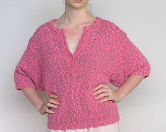 rosey cheeks -- vintage 70s nubby knit sweater top S/M