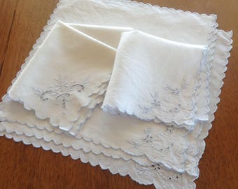 6 Vintage White Linen Fancy Napkins, Broderie Anglaise, Cutwork, Pale Blue Embroidery