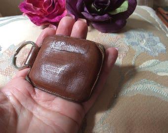 Vintage dark brown leather Coach bean bag key fob, unisex bean bag key holder, Coach leather key ring bean bag