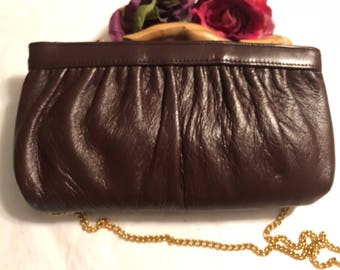 Vintage small oxblood leather Ande' clutch bag, dark burgundy shoulder or clutch bag, dark maroon leather chain strap purse, hinged purse