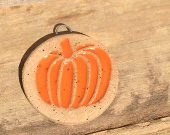 stoneware bead Halloween pendant  fall pumpkin spice  handmade Halloween beads pumpkin pendant pumpkin charm Halloween handmade ceramic
