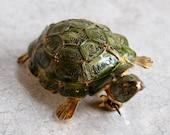 Vintage Spun Silver Cannetille Turtle Brooch -Green Enamel - Gold-Washed 800 Silver Figural Pin - European / Continental Vermeil