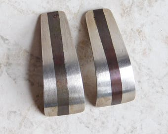 Vintage Mexican Sterling Silver Modernist Clip-on Earrings - 1980s Silver Bar w/ Copper Stripe - Taxco Artisan Made, Signed - Brush Finish