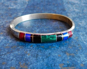 Vintage Mexican Sterling Silver Multi-Stone Bracelet - Hinged Silver Bangle w/ Inlaid Malachite, Lapis-Lazuli, Onyx, Carnelian - Small Size