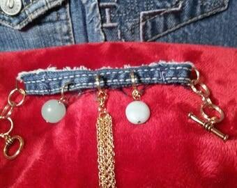 Denim Jean Detachable Dangling Chain Charm Bracelet Bracelet Jean Bracelet Denim Blue Jean Charm Bracelet frayed blue jean denim