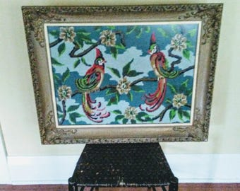 Ornate Antique Gesso on Wood Frame with Vintage Needlepoint