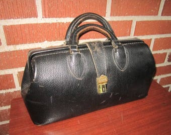 Vintage Sturdy Black Leather Schell Doctors Bag Satchel