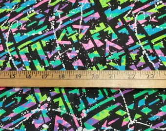 "Cotton Bright Neon Geometric Print 58"" wide just over 2yd"