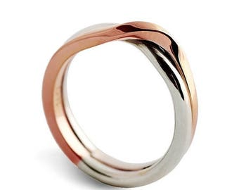 SALE 20% Off - LOVE KNOT White and Rose gold wedding band, unique wedding ring, alternative mens womens wedding ring, two tone ring