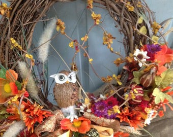 OWL NEST PETITE Fall wreath, Fall flowers, Branches, Thanksgiving wreath- Perfect for dorm, apartment or nursing home door